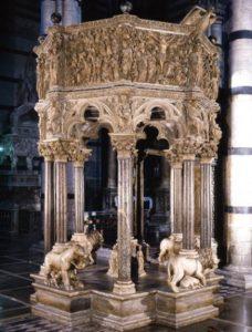 Lavori di restauro pulpito di Nicola Pisano e altri monumenti del Duomo di Siena